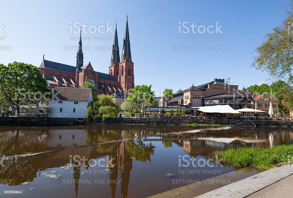 Uppsala Cathedral from riveside stock photo