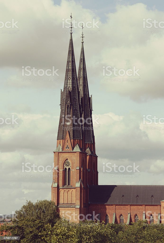 Uppsala cathedral in sweden, europe. stock photo