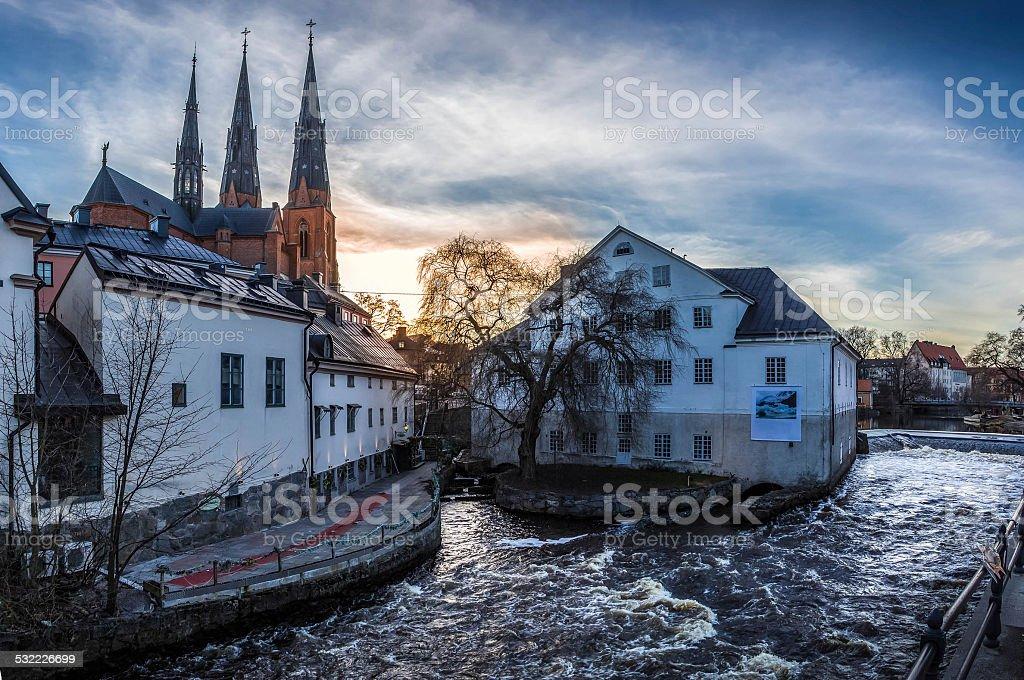 Uppsala from the bridge stock photo