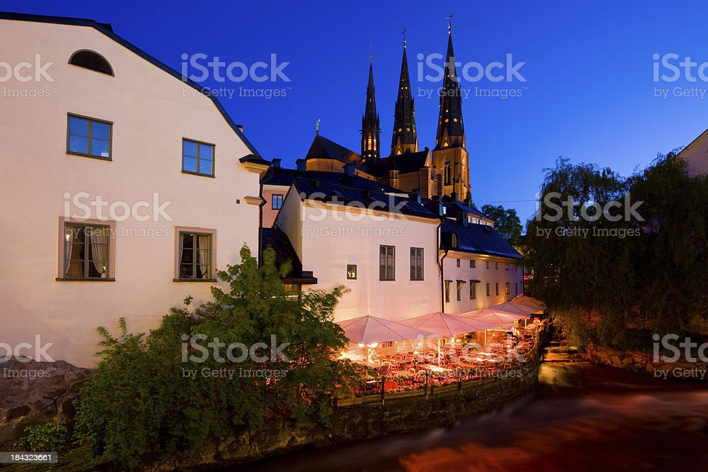 Uppsala Sweden Downtown Restaurant at the Fyris River stock photo