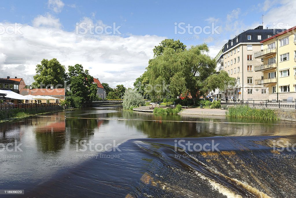 Uppsala, Sweden. River Fyris stock photo