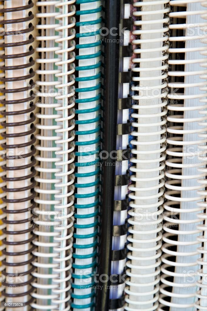 Upright group of manuals and binders on a shelf stock photo