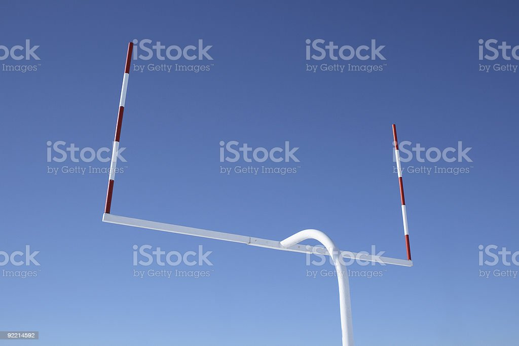 Uprights of football goal posts stock photo