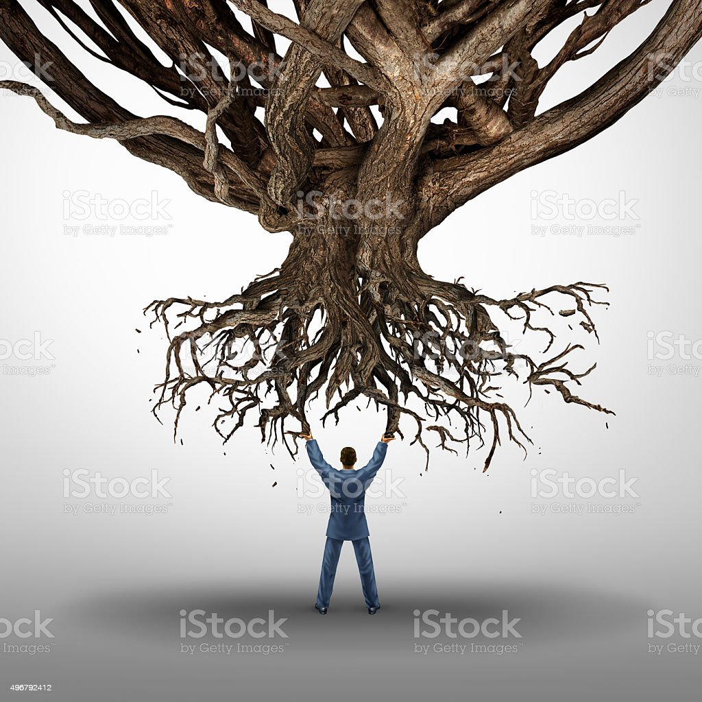 Uprooting And Power Concept stock photo