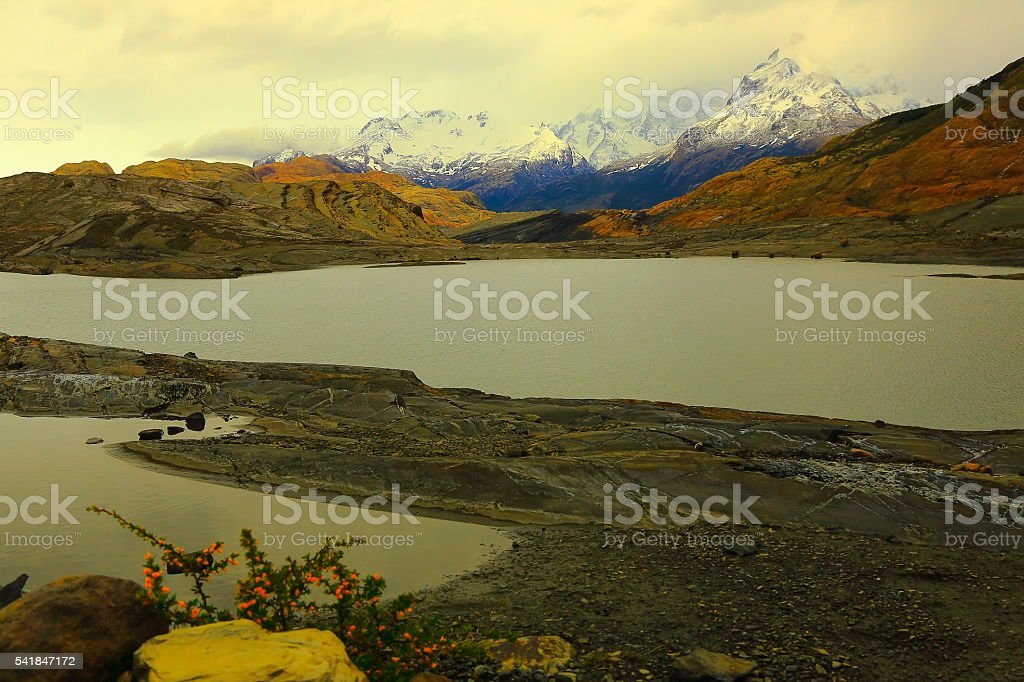 Upsala glacier lake desolation, Argentina, Dramatic Patagonia landscape stock photo