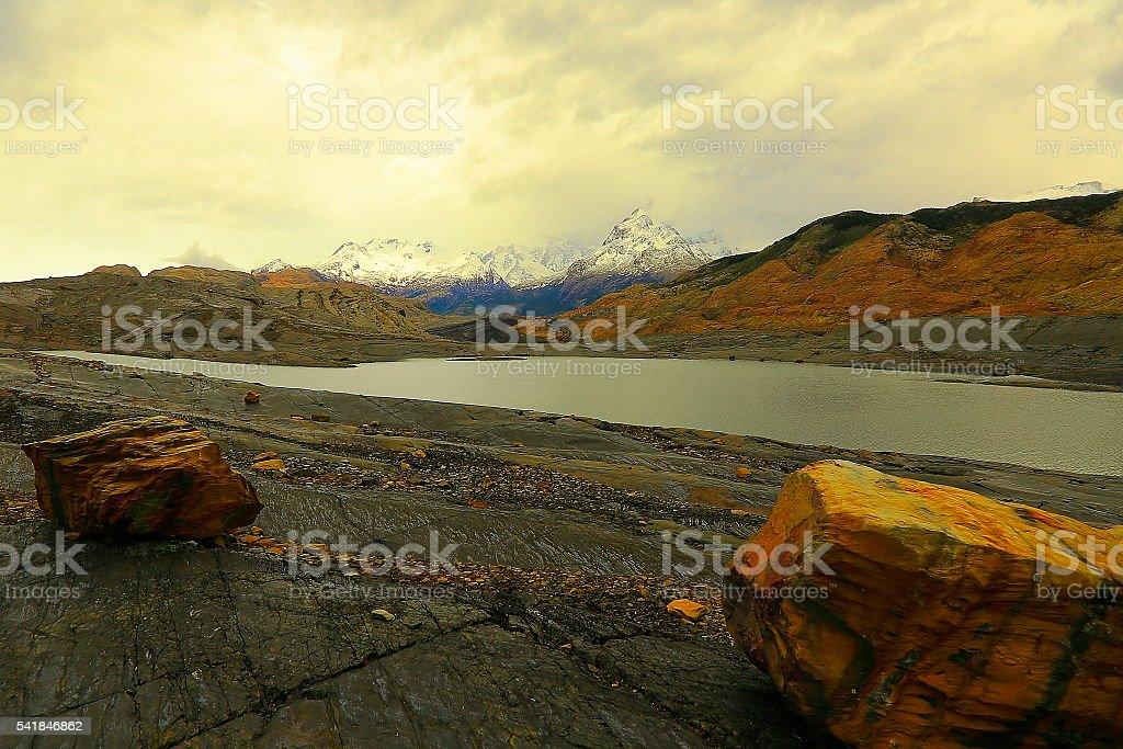 Upsala glacier lake sunset, Argentina, Dramatic Patagonia landscape stock photo