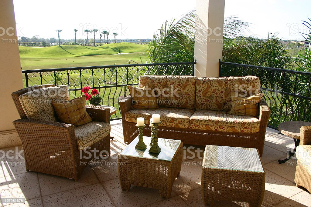 Upscale Balcony Overlooking the Golf Course royalty-free stock photo