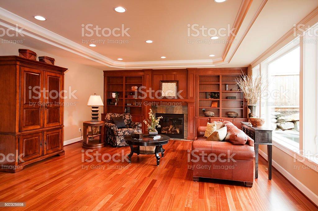 Upscale home interior with hardwood floors stock photo
