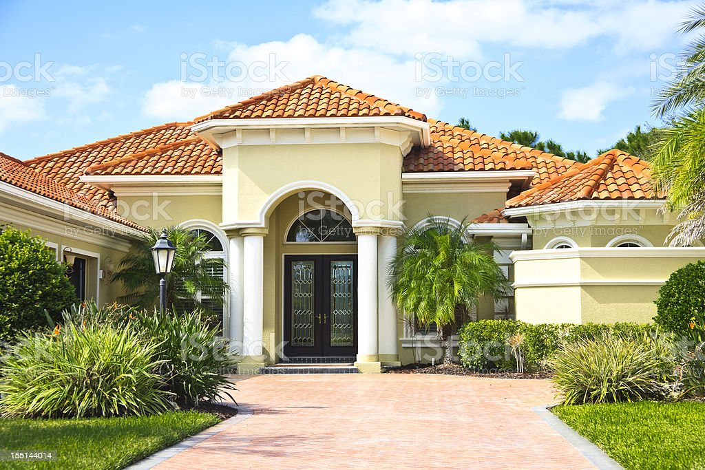 Upscale Home with Tile Roof stock photo