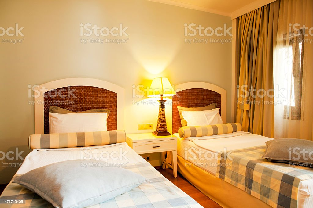 Upscale Hotel Room with Double Beds royalty-free stock photo