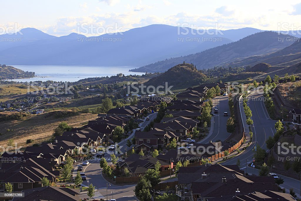 Upscale Lake View Residential Living stock photo
