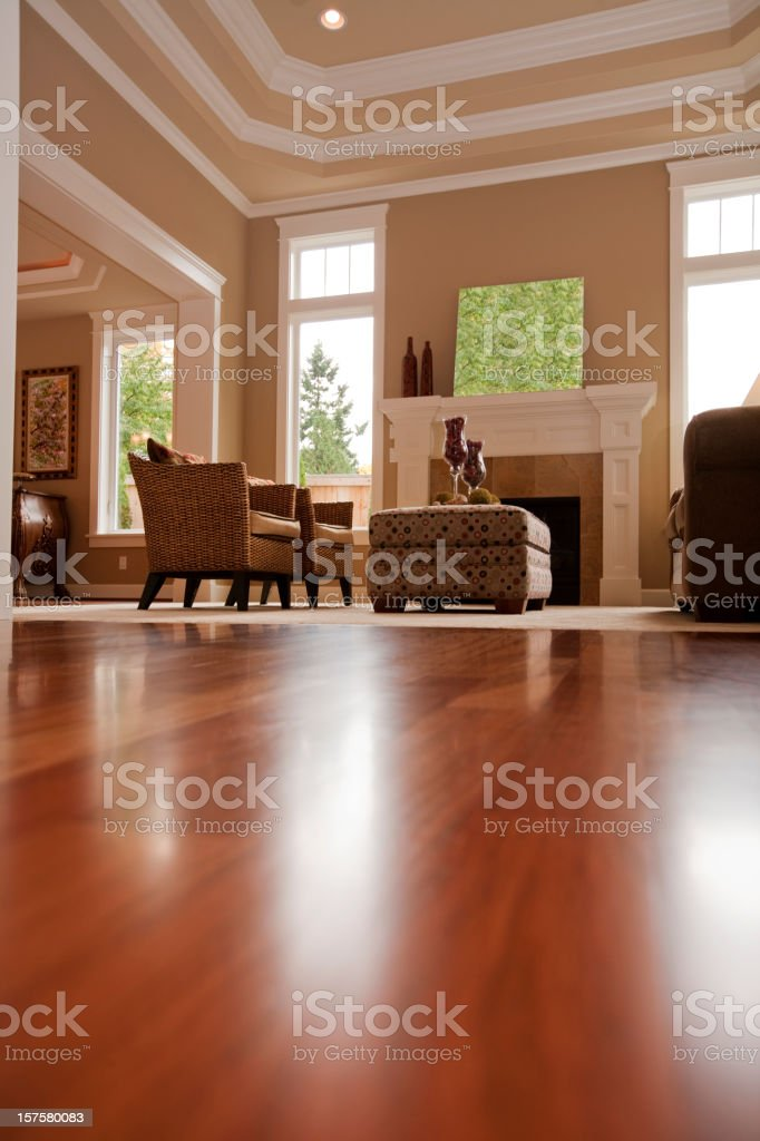 Upscale new formal living room hard wood floors windows furnature stock photo