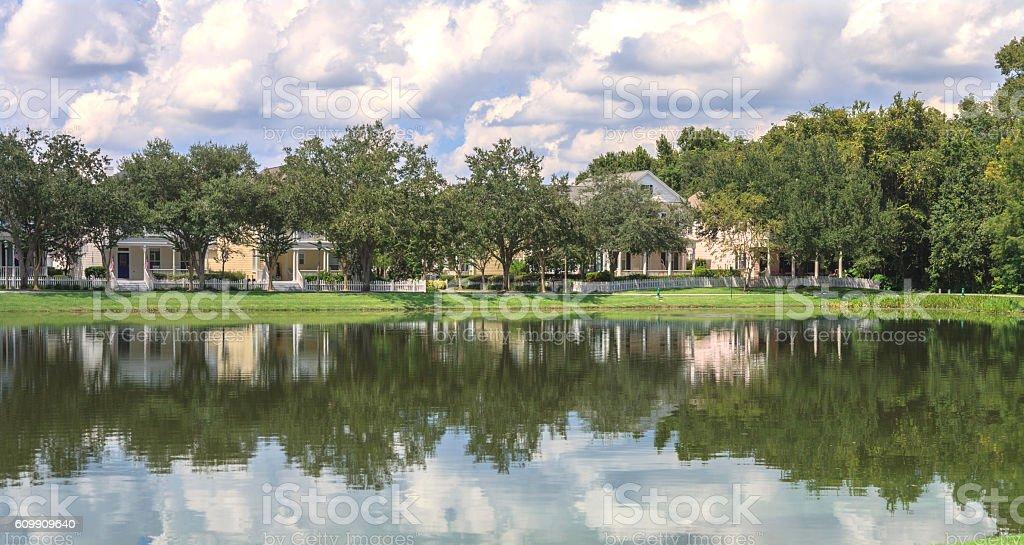 Upscale Urban Neighborhood with Lake View stock photo
