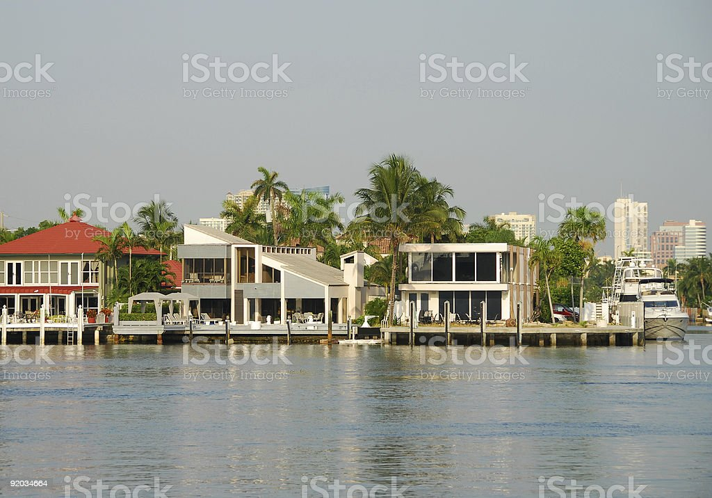 Upscale waterfront homes royalty-free stock photo