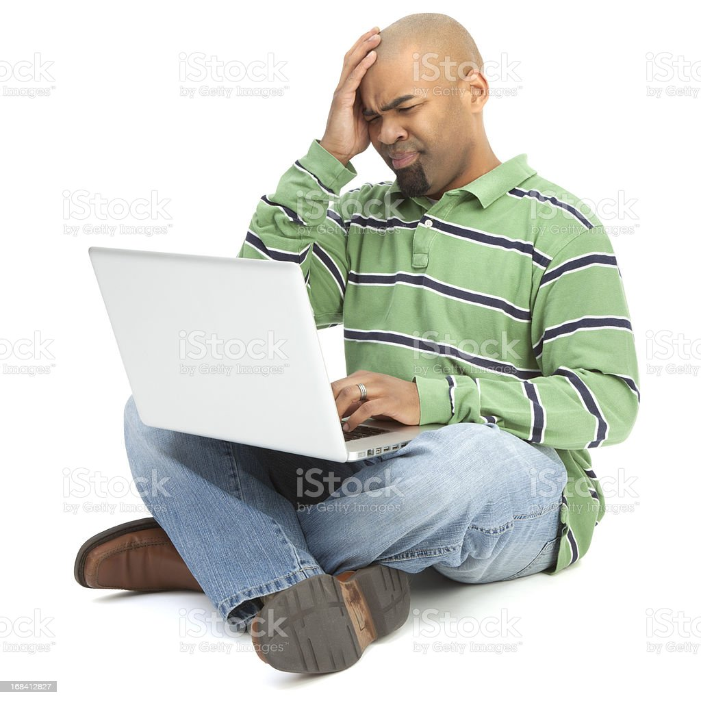 Upset African American Man with Laptop royalty-free stock photo