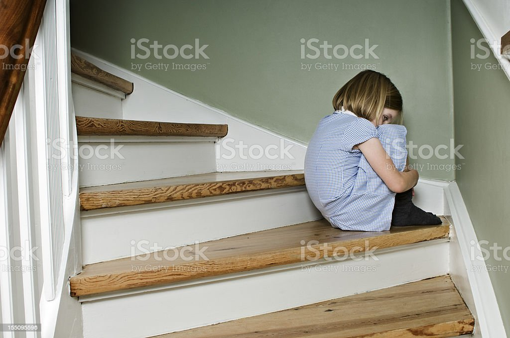 Upset Bullied Schoolgirl At Home royalty-free stock photo