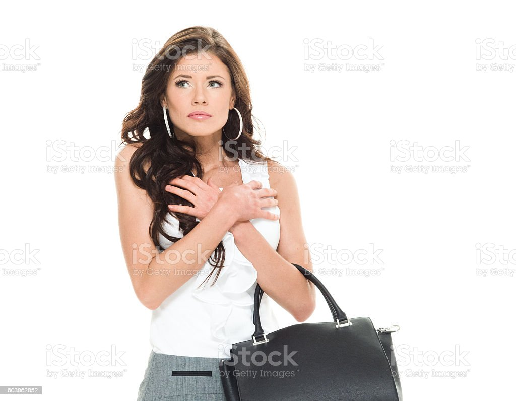 Upset businesswoman looking away stock photo