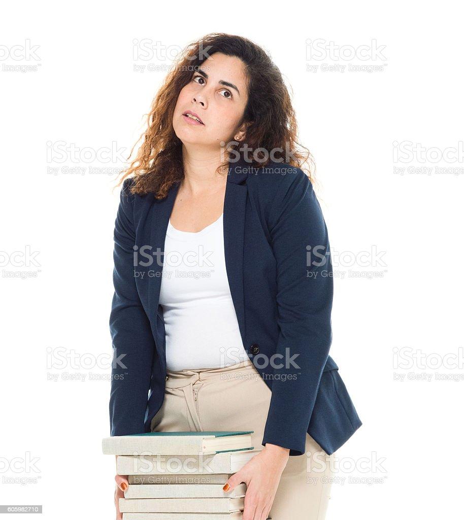 Upset businesswoman looking up stock photo