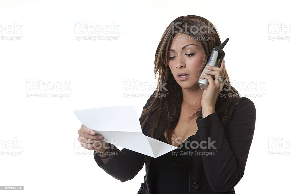 Upset Discusted Bill Phone Woman White Background Paper royalty-free stock photo