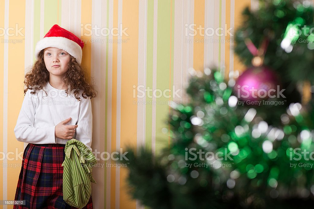 upset girl without present stock photo
