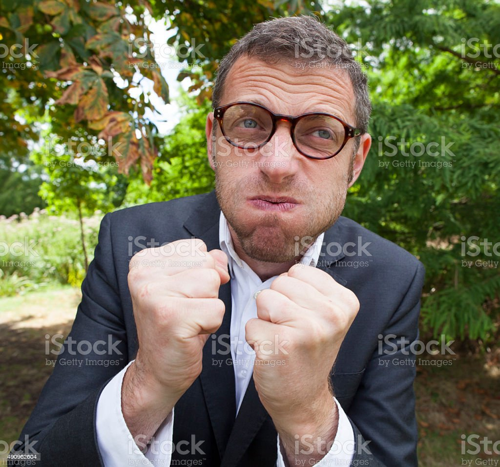 upset male businessman disapproving strategic leadership solutions outdoors stock photo