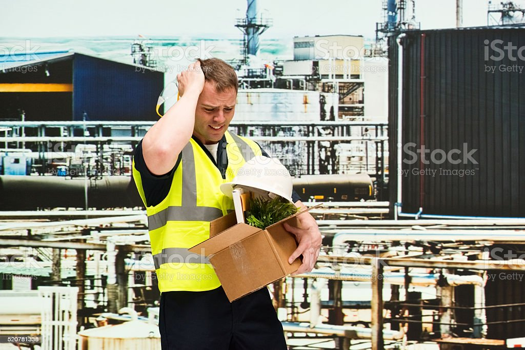Upset manager fired from his job stock photo