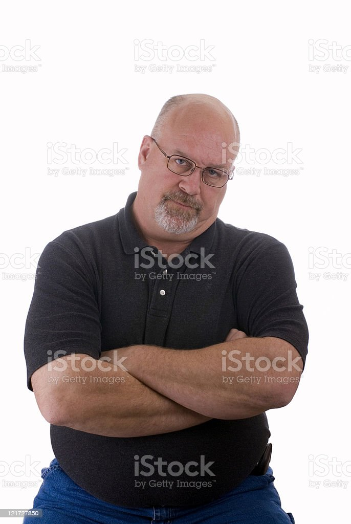 Upset Mature Man With Arms Crossed stock photo
