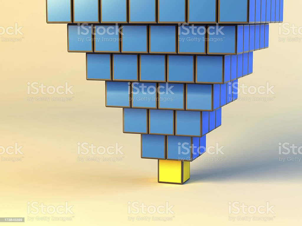Upset Pyramid from cubes stock photo