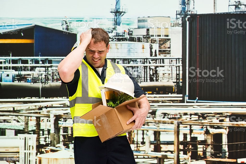 Upset worker fired from his job stock photo