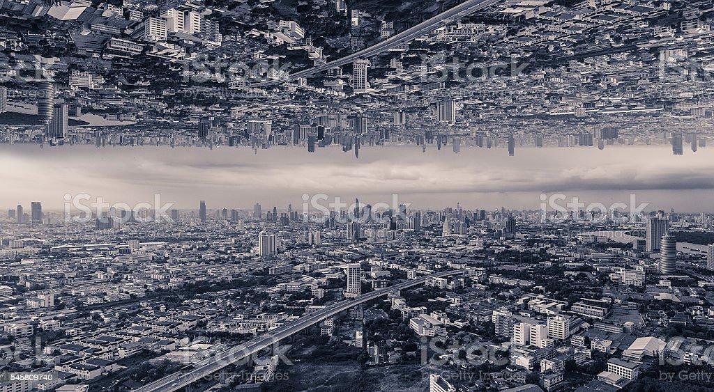 upside down city stock photo