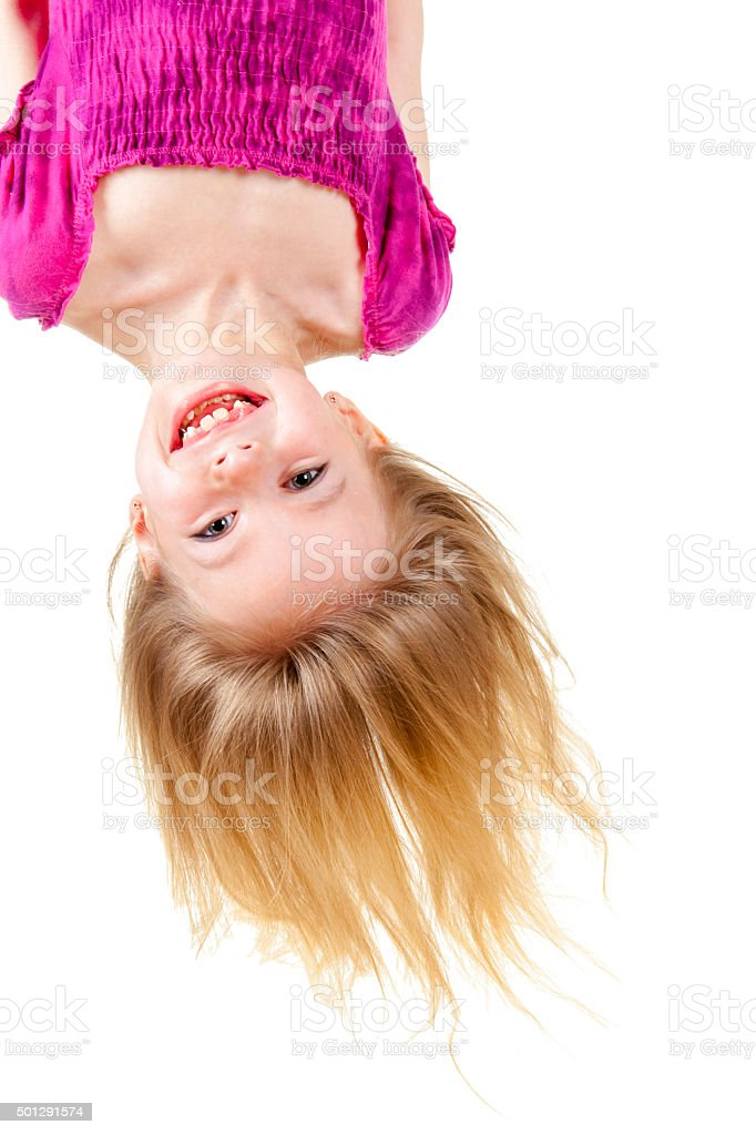 Upside down kid stock photo