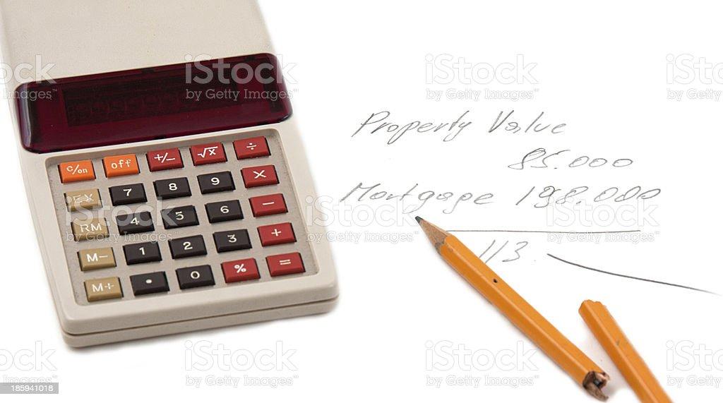 upside down mortgage calculator stock photo