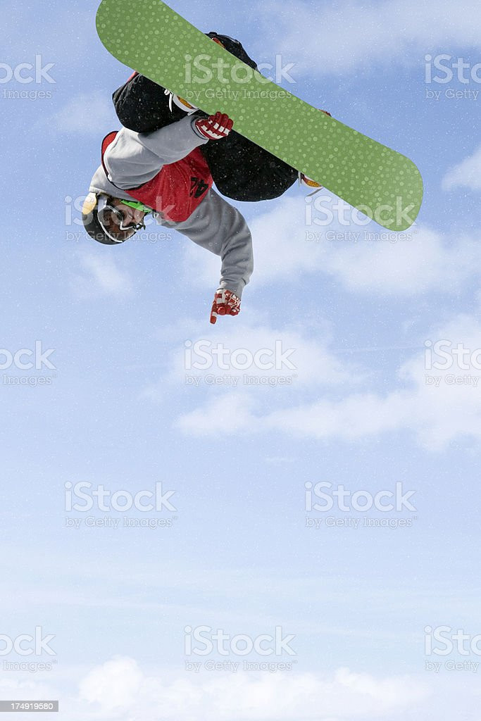 Upside Down Snowboarder royalty-free stock photo