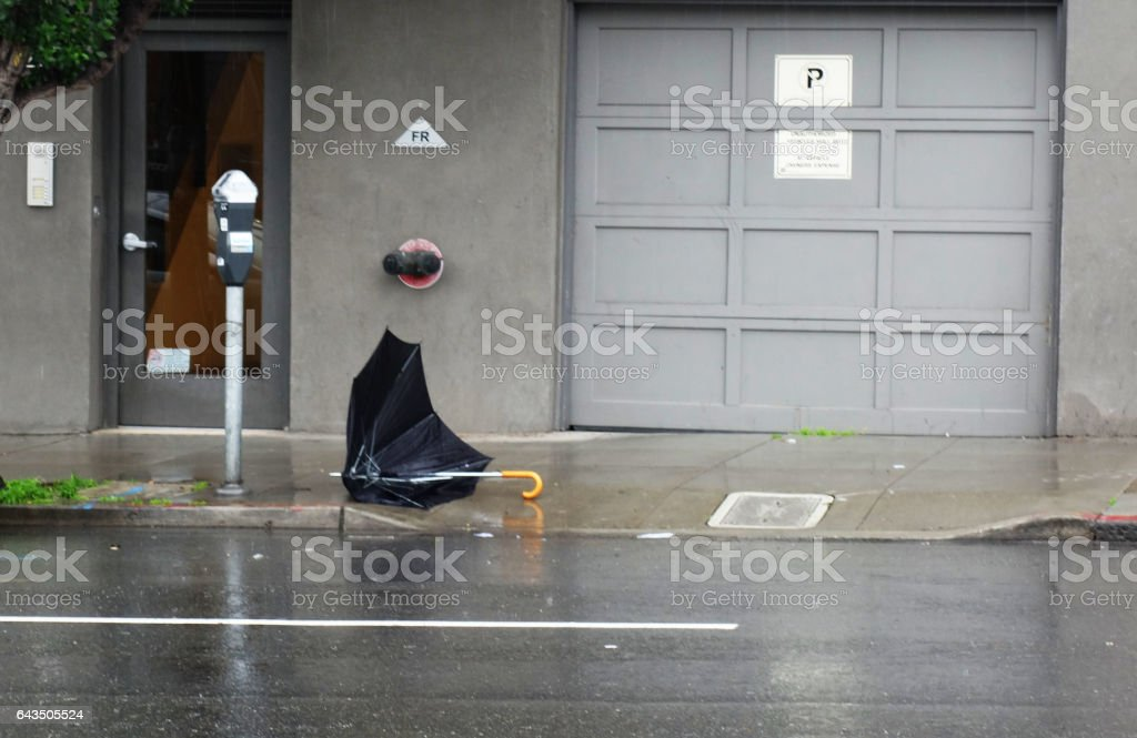 Upside Down Umbrella stock photo