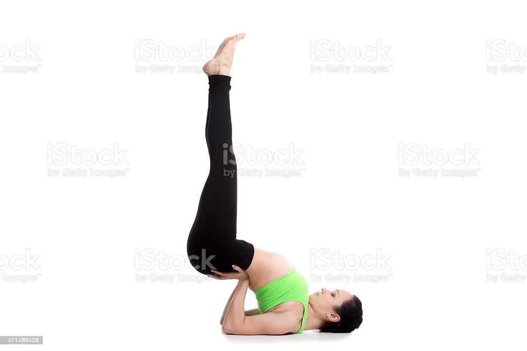 Upside-Down Seal yoga Pose stock photo