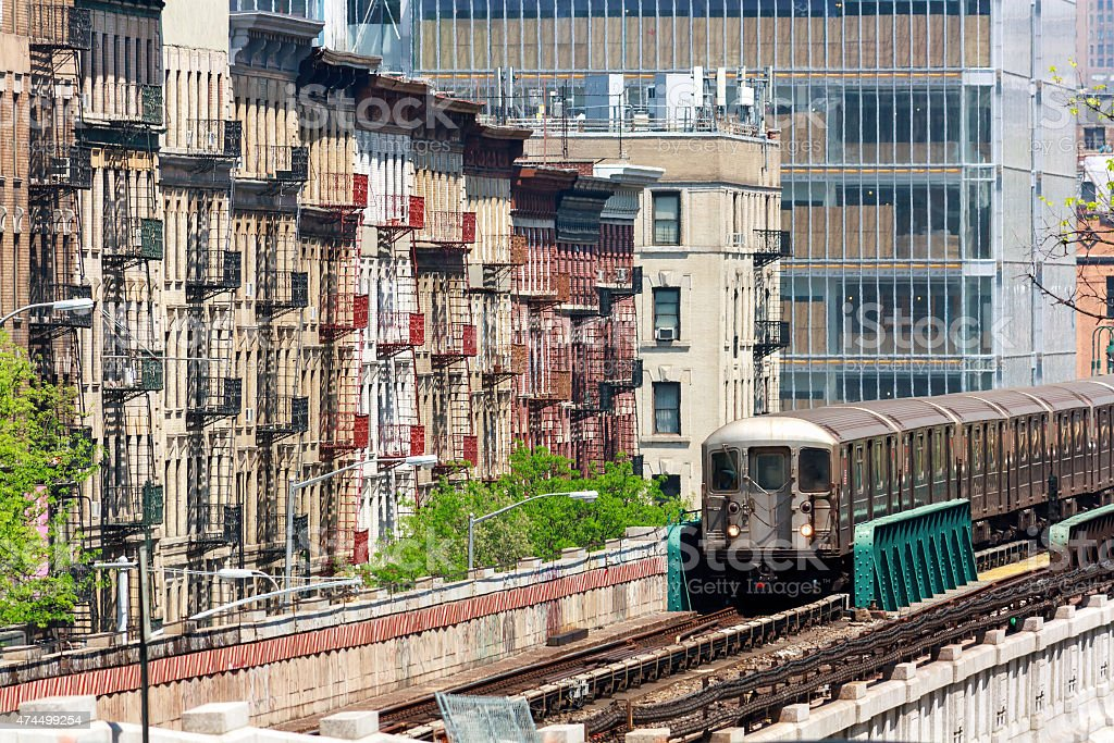 NYC Uptown Elevated Train stock photo