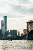 Uptown Manhattan skyline New York. Splittoned vivid image.