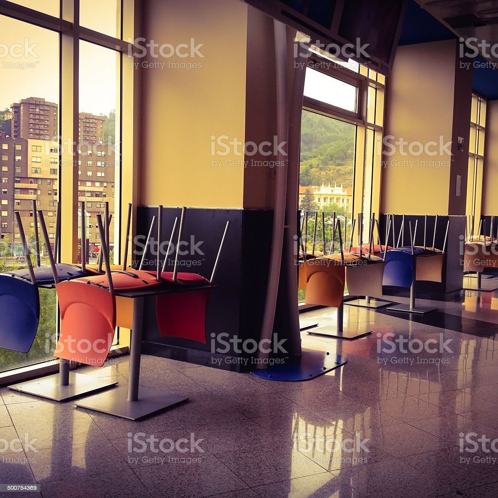 Upturned chairs royalty-free stock photo