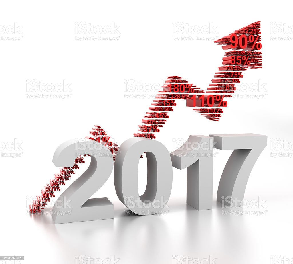 Upward arrow for 2017 formed by numbers stock photo
