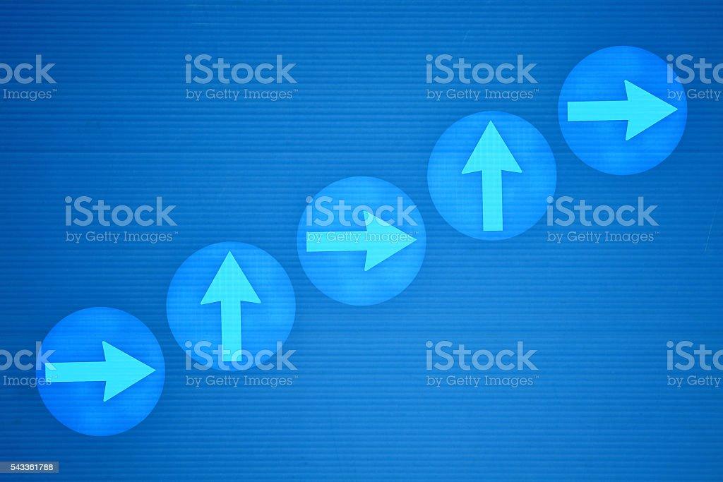 Upward blue arrows stock photo