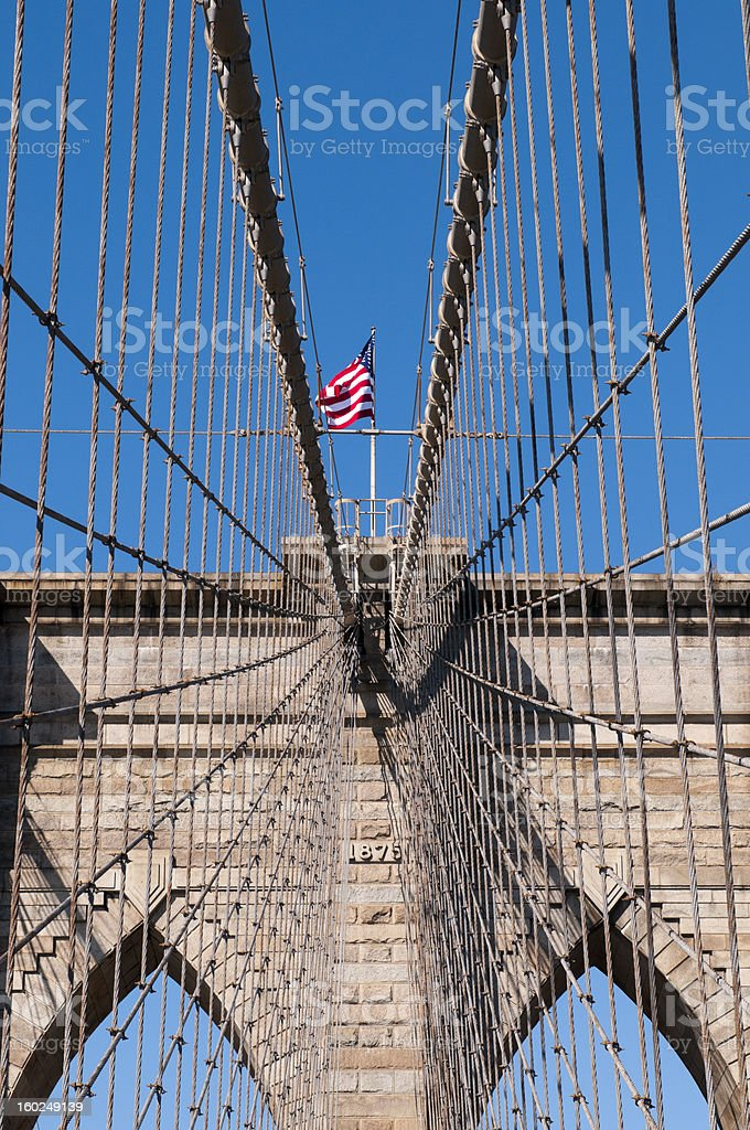 Upward image of Brooklyn Bridge in New York royalty-free stock photo