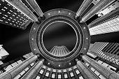 Upward perspective of New York skyscrapers