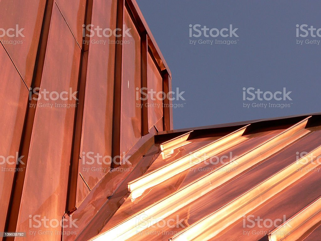 Upward photograph of a copper roof stock photo