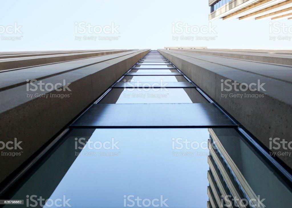 upward view of a skyscraper stock photo