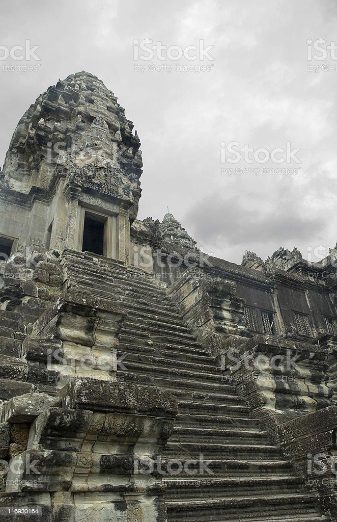 Upward View Of Angkor Wat In Cambodia stock photo