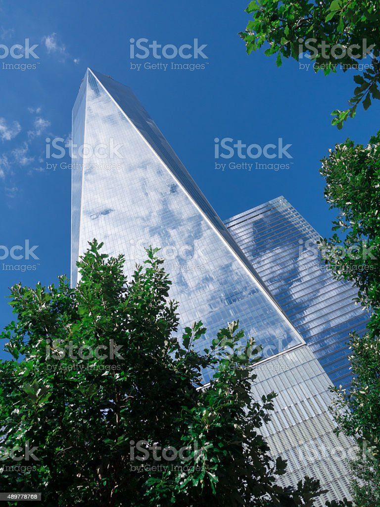 Upward view of newly constructed One World Trade Center stock photo