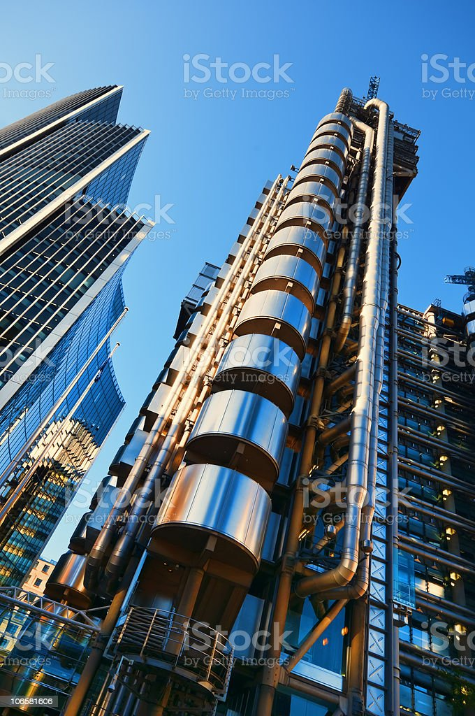 Upwards looking view of Lloyd's of London stock photo