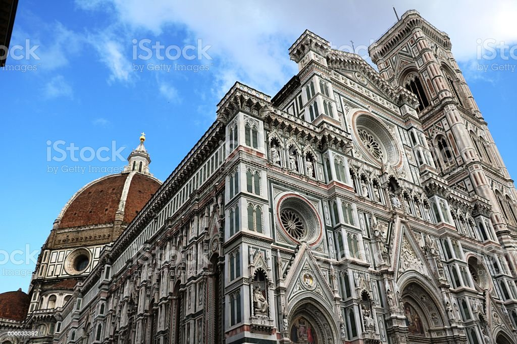 Upwards view to Santa Maria and Giotto's Campanile, Florence Italy stock photo