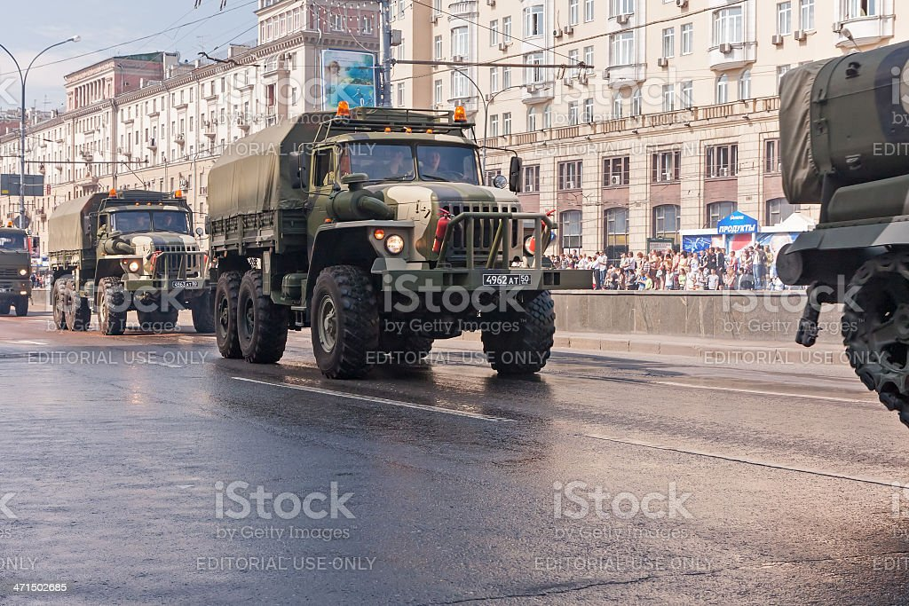 Ural-4320 motorcade moves on display during parade festivities royalty-free stock photo