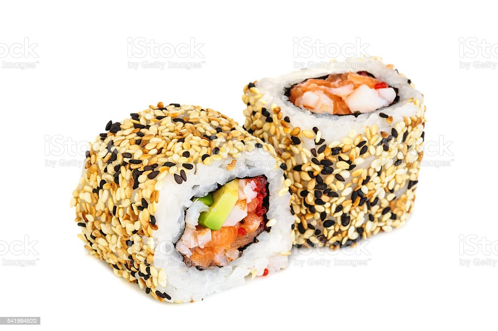 Uramaki maki sushi, two rolls isolated on white stock photo